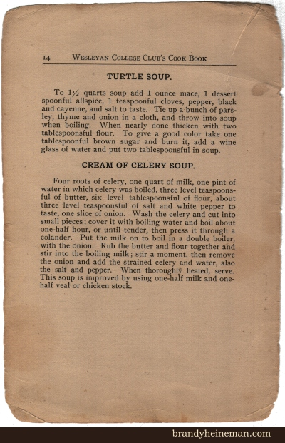 Old Fashioned Turtle Soup & Cream of Celery Soup, 1909.